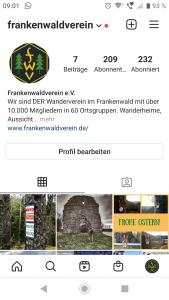 Profil Frankenwaldverein auf Instagram